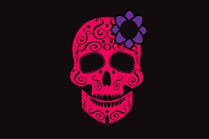 Skull icon pink with purple flower