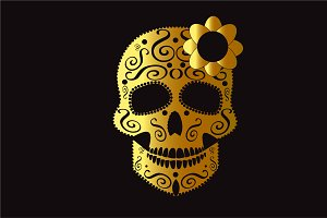 Skull icon gold color with flower