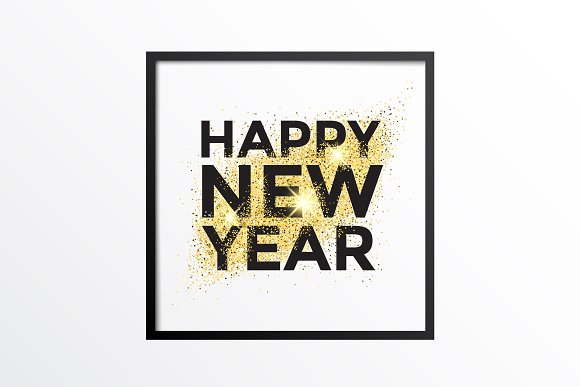 Gold Glitter New Year Greeting Card