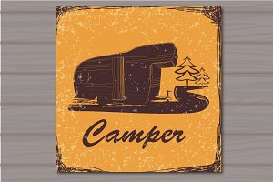 Vintage Postcard of Camper