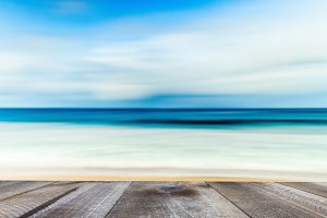 Blurred blue background of sea