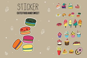 CUTE STICKER FOOD&SWEET VECTOR