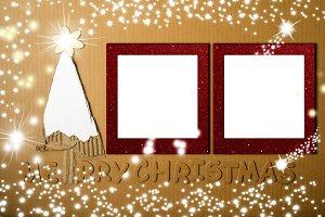 Christmas two photo frames card