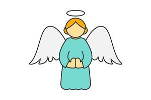 Christmas angel flat line icon
