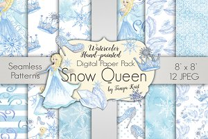 Snow Queen Digital Paper Pack