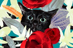 Seamles pattern with roses and cats