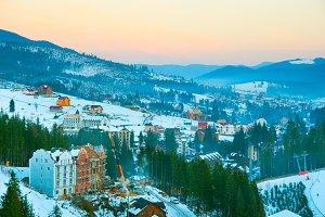 Carpathians village at sunset