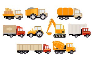 Work Trucks icon set Flat