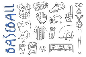Baseball Items Hand Drawn