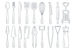 Cutlery Icons in Hand drawn