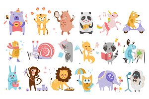 Colourful Childish Animals Vector