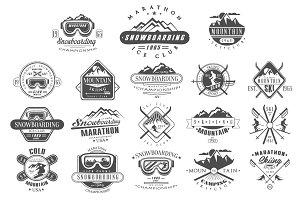 Vintage Skiing, Snowboarding Labels