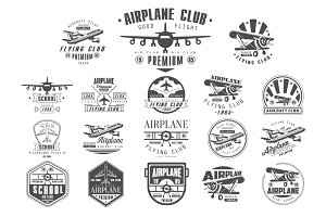Airplane Club Vector Label