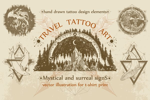 Travel tattoo collection