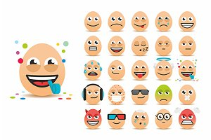 Set of Easter eggs emoticons