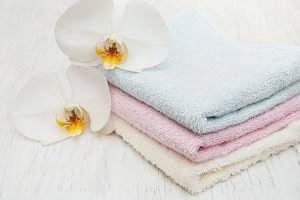 Orchids and spa towels