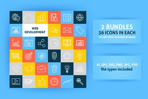 Web Development Line Art Icons