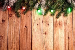 Christmas fir tree on wooden boards