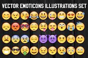 36 Vector Emoticons Illustration Set