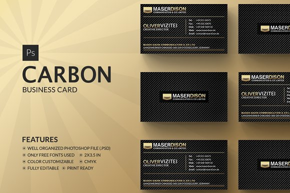 Carbon business card business card templates creative market carbon business card business cards reheart Image collections