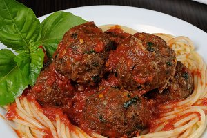 Meatballs in tomato sauce with spagh