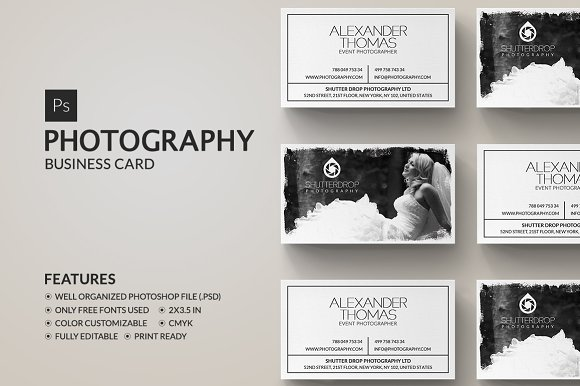 Photography business card business card templates creative market photography business card flashek