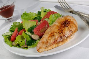 Chicken schnitzel with vegetable gar