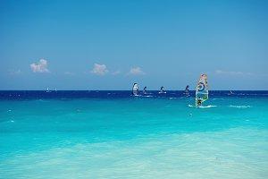 Windsurfing on the ocean