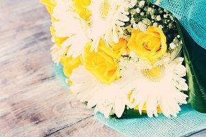 Elegant festive bouquet for gift. Toned