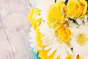 Yellow and white flowers for gift. Toned
