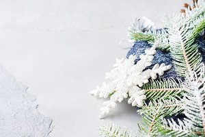Christmas background with fir tree snow branches
