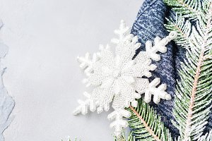 Winter christmas background with fir tree snow branches