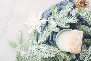 Milk and cookies for winter Christmas holidays. Top view