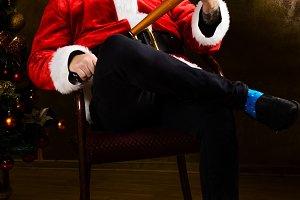 Bad Santa with baseball bat