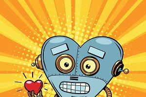 Retro robot heart Valentine