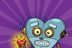 Retro robot and the light bulb heart
