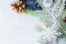 Christmas winter background with fir tree branches