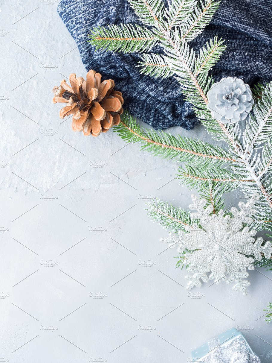 christmas winter background with fir tree branches vertical