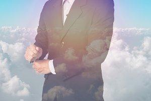 Businessman on sky