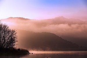 Morning fog at Kawaguchiko lake