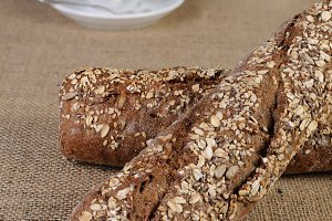 Baguette from rye flour with cereals