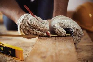 Carpenter working in studio