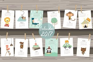 Calendar 2017 with cute animal 2#