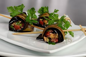 Eggplant rolls stuffed with vegetabl