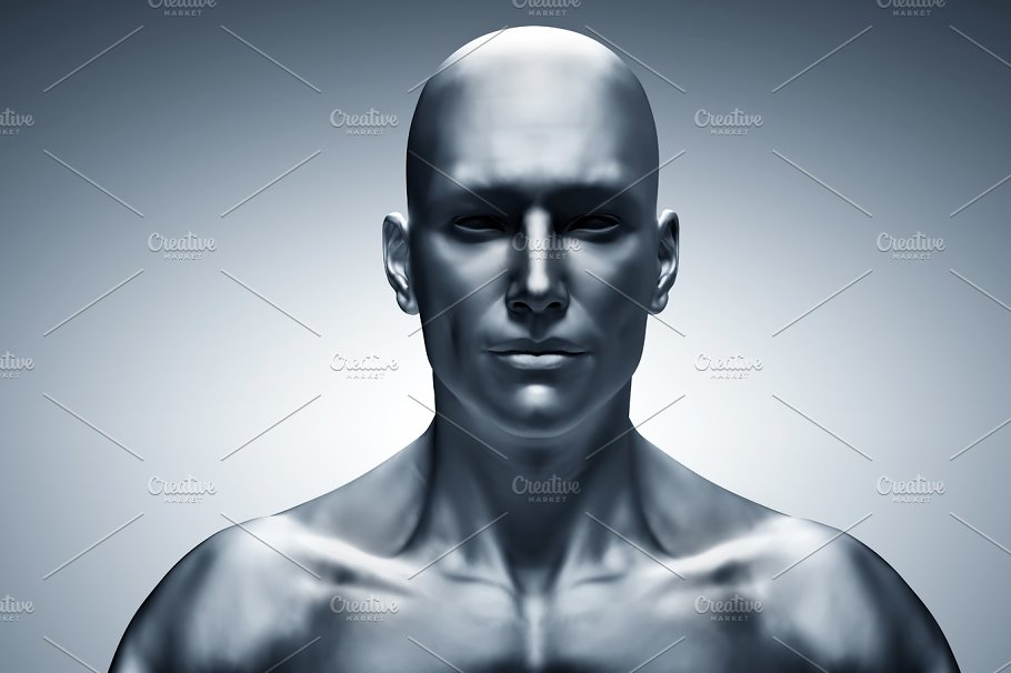 generic human man face front view futuristic technology photos