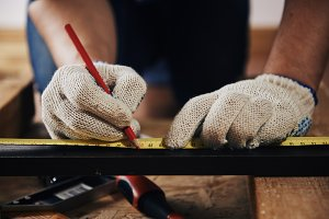 Close-up of craftsman hands