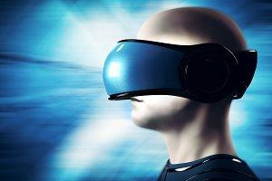 Into virtual reality world. Man wearing goggle headset.