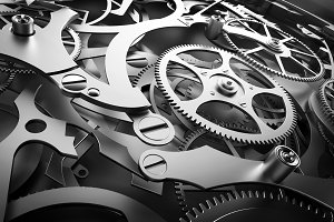 Inside mechanism, clockwork with working gears.