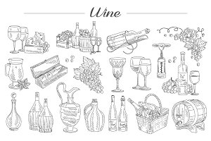 Wine and Grapes, Hand drawn