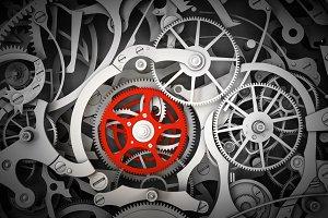 Mechanism, clockwork with one different, red cogwheel.
